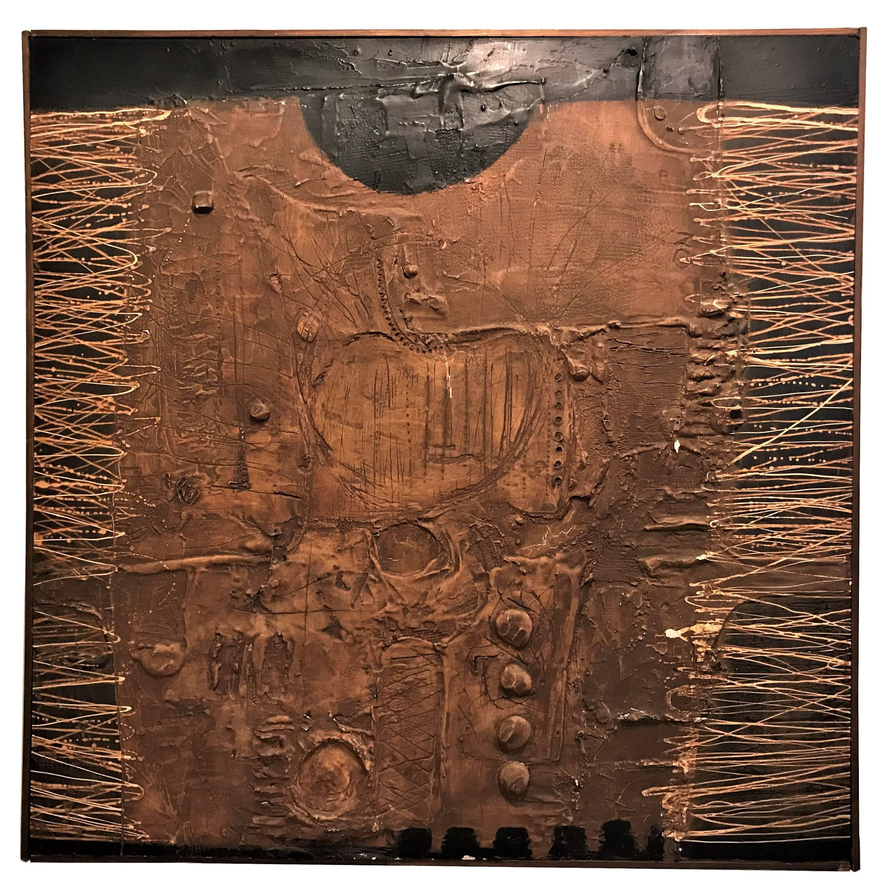 MCM Fine Abstract Oil on Board Signed by Michels Dated 1961, 'Copper Bleeding'