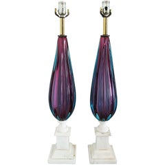 Pair of Purple and Teal Murano Glass Lamps on White Marble Bases