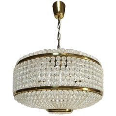 Austrian Brass and Glass Chandelier by J.L Lobmeyr