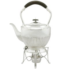 1900s Antique Edwardian Sterling Silver Spirit Tea Kettle in Queen Anne Style