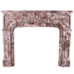 Antique Louis XIV Regency Chimneypiece in Red Levanto Marble