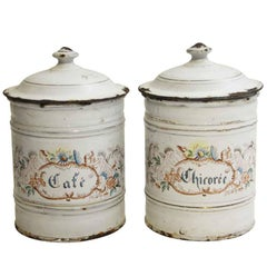 1950s Pair of White Floral Cherubic French Kitchen Pots