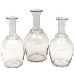 Set of Three Antique French Handblown Glass Decanters