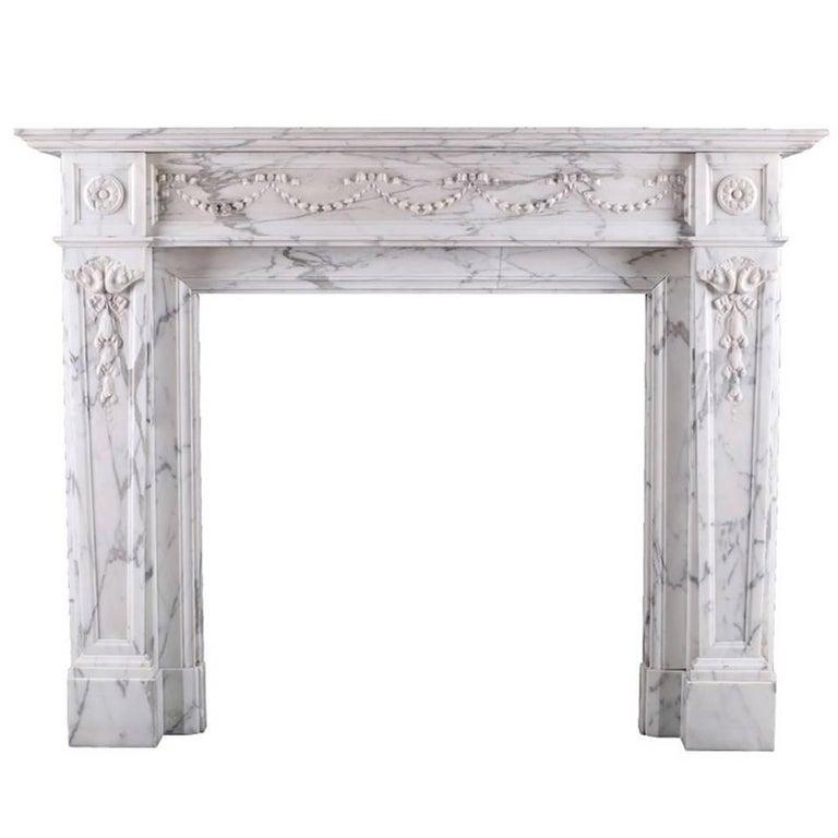 Louis XVI Antique Regency Fireplace Mantel in Arabescato Marble