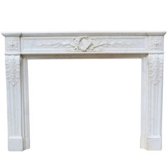 French Louis XVI Style Carrara Marble Fire Surround