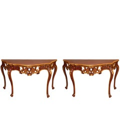 Late 19th Pair of Painted and Giltwood Italian Console Tables