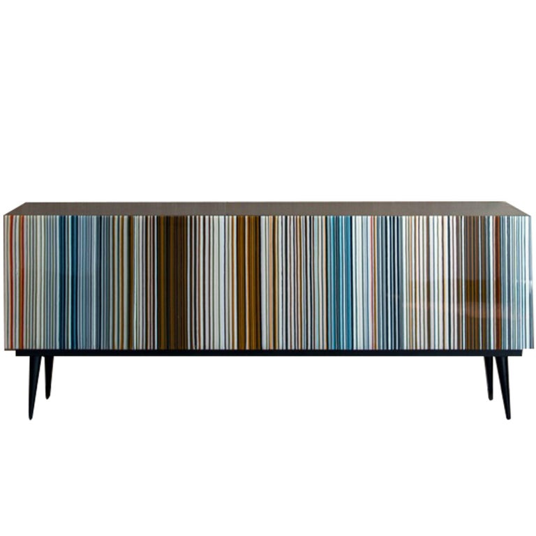 Barcode Colored Glass Retro Style Buff-Heyyy Credenza  For Sale