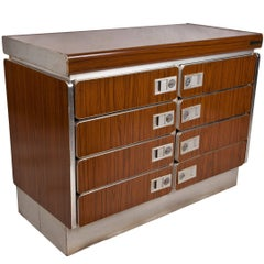 Rare Teak and Chrome Nautical Chest from Ship's Stateroom, Midcentury
