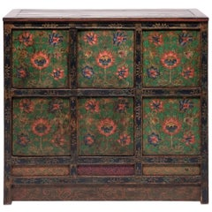 Tibetan Painted Lotus Cabinet
