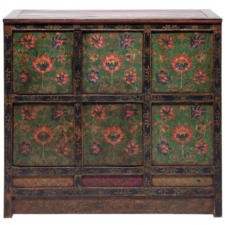 Tibetan Painted Lotus Cabinet For Sale