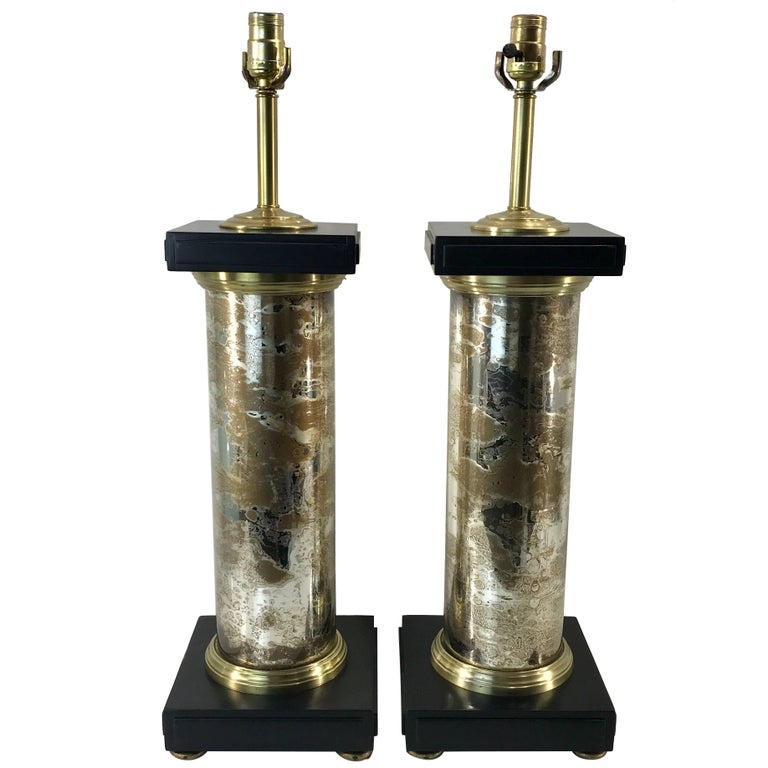 Large Pair of Mercury Glass Column Lamps