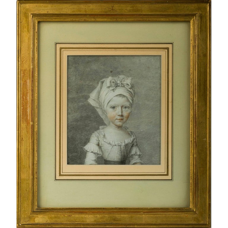 18th Century French School Drawing of a Young Girl
