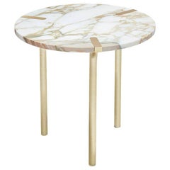 Sereno Side Table / End Table in Calacatta Marble and Satin Gold