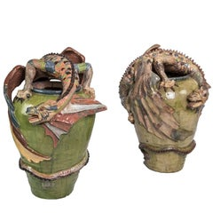 Mid-20th Century Tonalá Mexico Dragon Jars