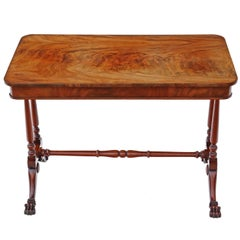 Antique Quality Victorian Flame Mahogany Stretcher Centre Table, circa 1880