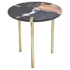 Sereno Side Table or End Table in St. Laurent Marble and Satin Gold