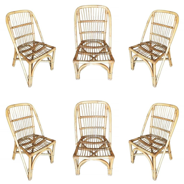 Restored Mid-Century Rattan Dining Side Chair w/ Stick Rattan Seat, Set of Four