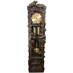 Black Forest Carved Long Case Clock with Bears and Trees, circa 1950