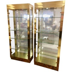 Pair of Mastercraft Midcentury Glass and Brass Vitrines Cabinets Showcases