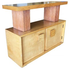 Paul Frankl Combed Wood Console Table Cabinet for Brown Saltman