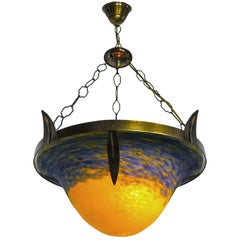 French Art Deco Chandelier or Pendant Shade in the Manner of Degué