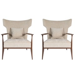 Pair of Morris Winged Back Armchairs