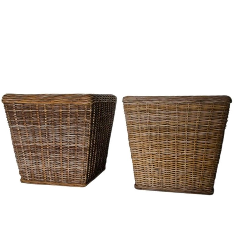 Large Woven Wicker Planters with Metal Liner Inserts