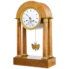 19th Century, French Empire Burr Walnut Mantel Clock