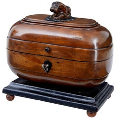 Unusual Early 19th Century Fruitwood Caddy with Carved Hippo