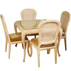 Serge Roche Style Carved Wood Games Table and Chairs