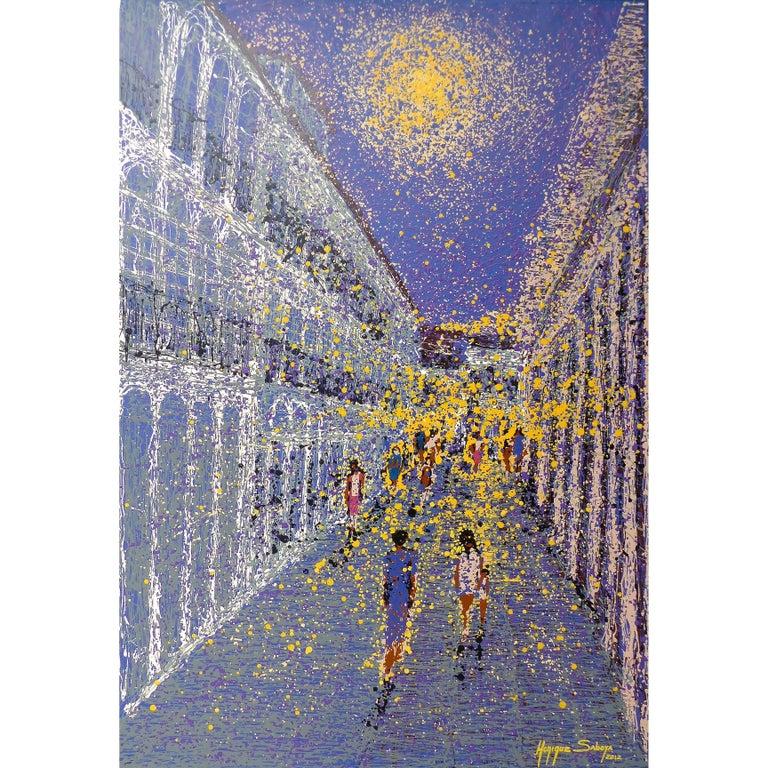 Modern Pointillism Impressionist Painting by the Brazilian Artist Monique Saboya