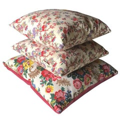 Cushion Collection in Vintage Floral Linens and Pink Velvet One-Off Design Piece