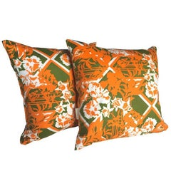 Vintage Fabric Cushions in Heals 'Summerhouse' Green White and Orange