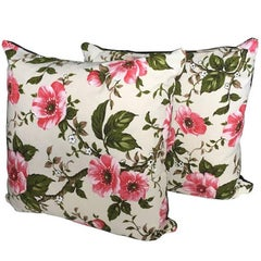 Vintage Fabric Floral Cushions Pink Green Retro Heritage