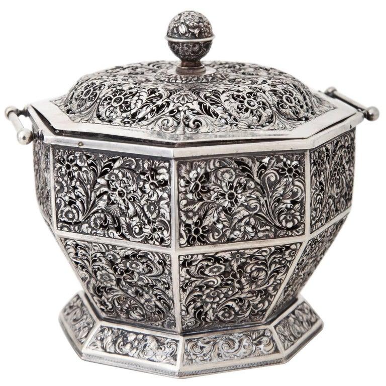 Octagonal Silver Scent Pot, Vienna, 1837