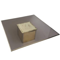 Etched Coffee Table in Massive Brass in the Style off Maison Jansen