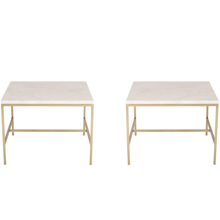 Pair of Hogue Travertine Top Side Tables