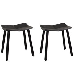 Customizable Pair of Mitre Stools from Souda, Black, Low, Made to Order