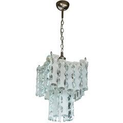 Italian Midcentury Murano Etched Glass Pendant Chandelier