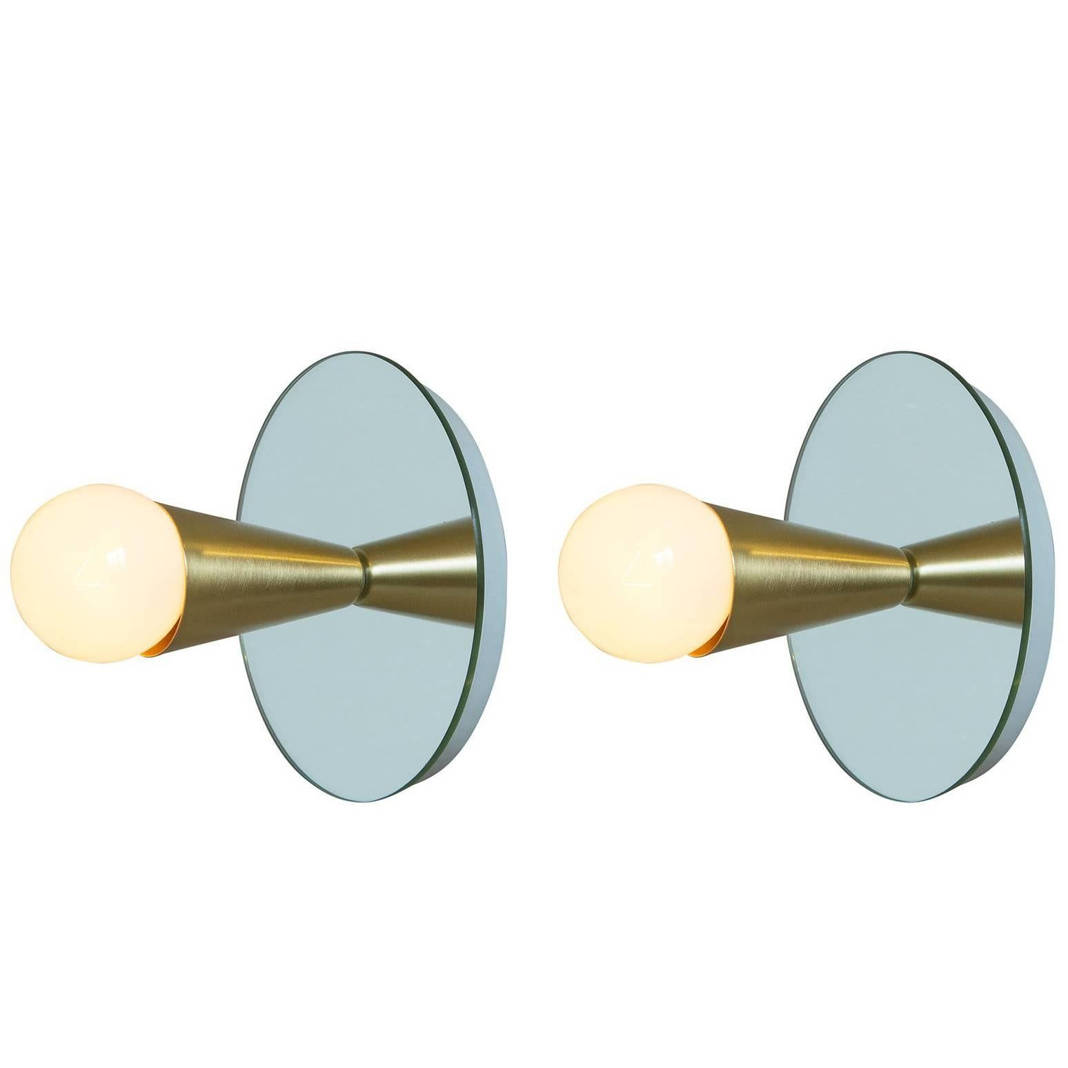 Echo One Sconce Pair/Flush Mount in Brass, from Souda, Made to Order