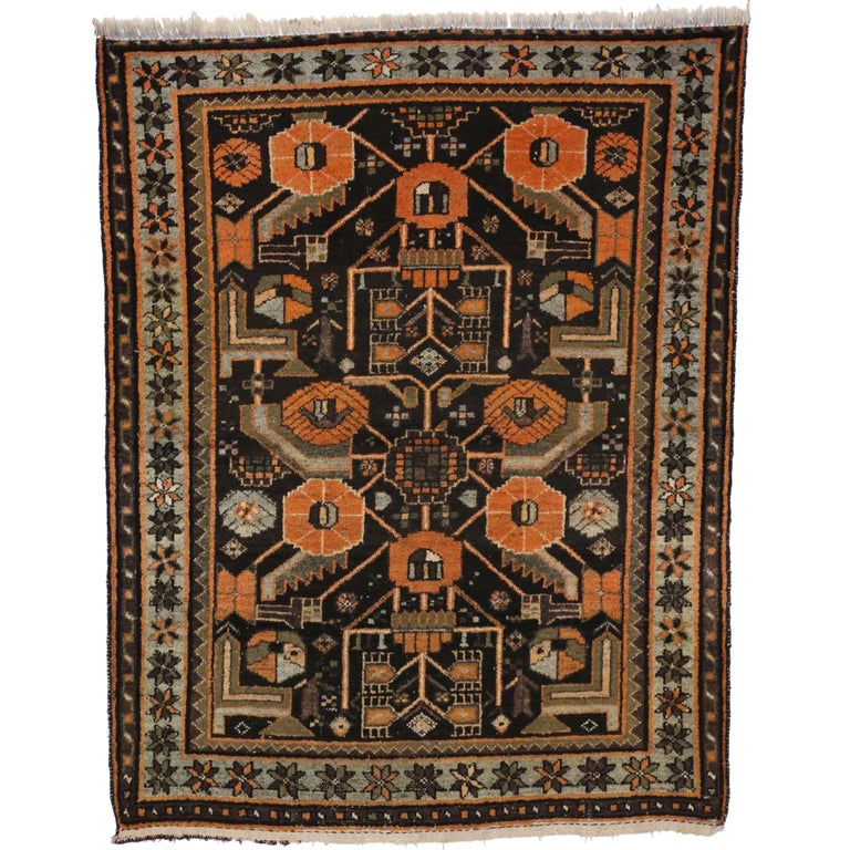 Antique Persian Hamadan Rug With Modern Tribal Style For