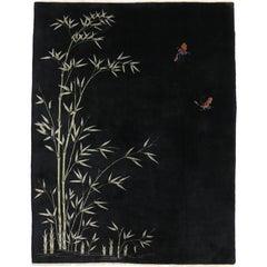 Black Antique Chinese Art Deco Rug
