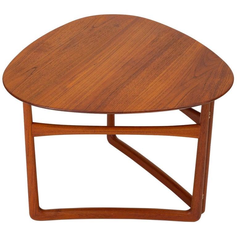 Trilateral Folding Side Table by Peter Hvidt and Orla Mølgaard-Nielsen For Sale