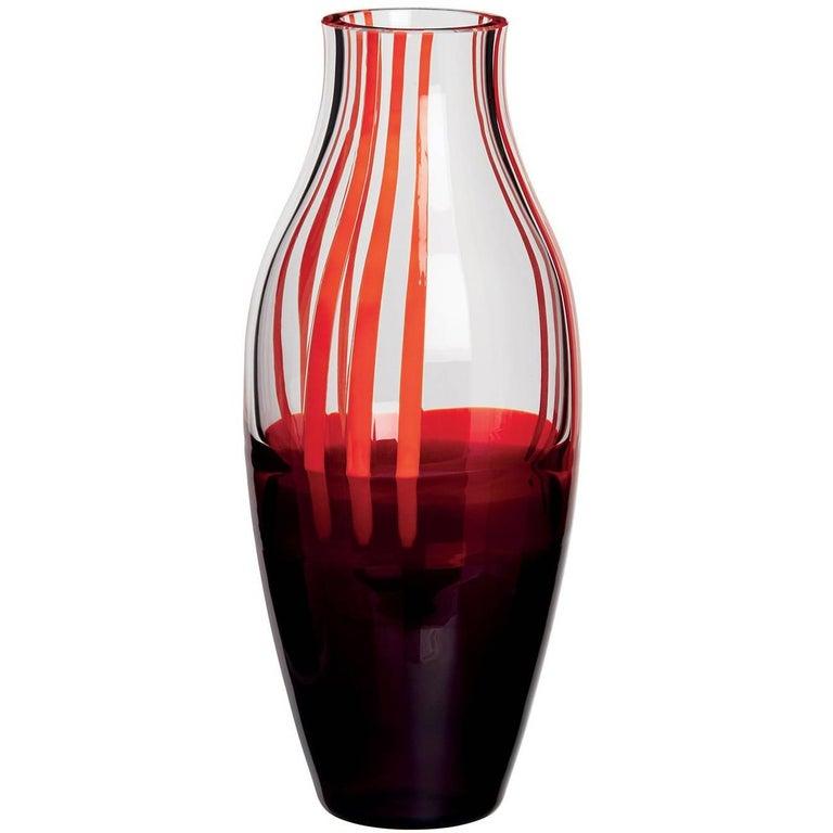 Angel Carlo Moretti Contemporary Mouth Blown Murano Glass Vase For