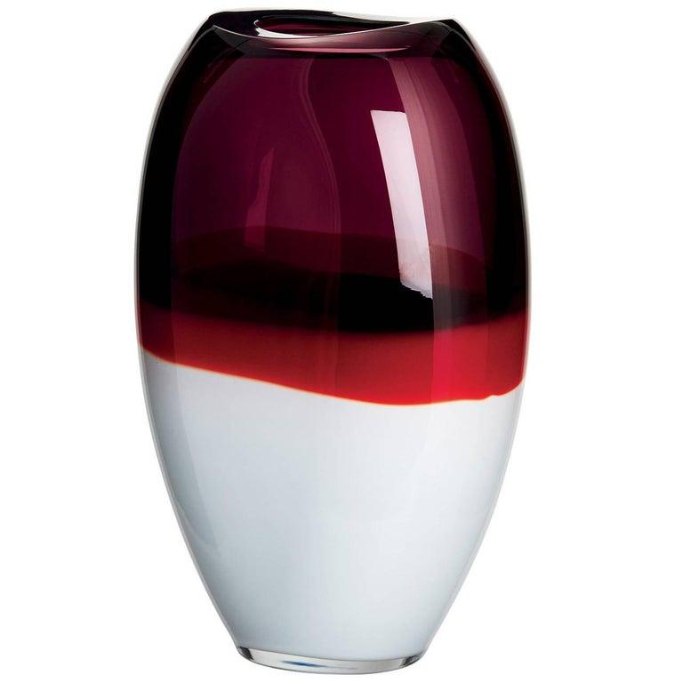 Enson Carlo Moretti Contemporary Mouth Blown Murano Glass Vase