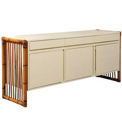 Exceptional Restored Basketweave Raffia and Rattan Credenza, circa 1970