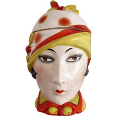 Vintage German Art Deco Ceramic Lady Head - Biscuit Jar
