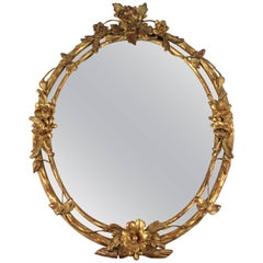 Oval French Giltwood Wall Mirror