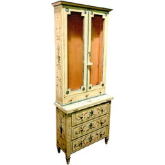 Italian Tall and Narrow Paint Decorated Neoclassic Bookcase Secretary