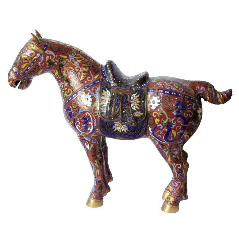 Chinese Cloisonné Horse Sculpture at 1stdibs